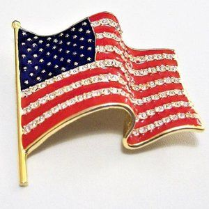 Monet American Flag Pin Brooch Red White Blue Gold